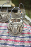 Grey Willow Votive Lanterns with Glass - Set of 4