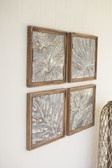 Framed Tropical Pressed Metal Tiles - Set of 4
