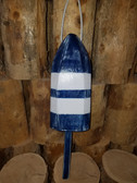 "Wooden Lobster Buoy 21"" - Blue White Stripes"