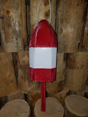 "Wooden Lobster Buoy 21"" - Red White Band"