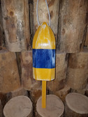 "Wooden Lobster Buoy 21"" - Yellow Blue Band"