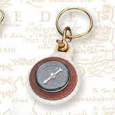 Brass Key Chain -Compass with Rope