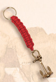 Brass Key Chain - Anchor with Red Lanyard