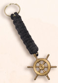 Brass Key Chain - Ship Wheel with Black  Lanyard