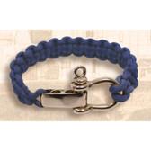 Navy Lanyard Bracelet with Brass Clasp
