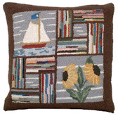 Booth Bay Sailboat Hooked Pillow