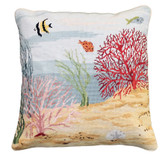 Coral Reef Left Needlepoint Pillow