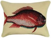 Porgy Fish Needlepoint Pillow