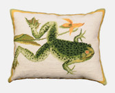 Bull Frog Needlepoint Pillow