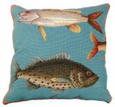 Saltwater Fish Needlepoint Pillow #1