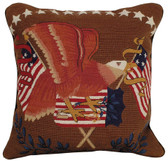 Eagle With Flag Mixed Stitch Pillow