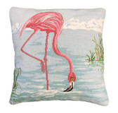 Flamingo in Water Needlepoint Pillow