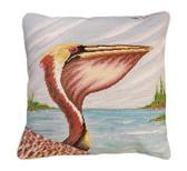 Pelican Profile Needlepoint Pillow