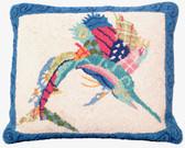 Patchwork Sailfish Hooked Pillow