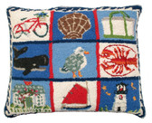 Coastal Quilt Hooked Pillow