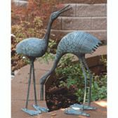 Stately Garden Cranes - Set of 2 Sculptures
