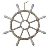 Decorative Rope Wrapped Ship Wheel -  Detachable Spokes 26""