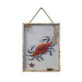 "Wood and Metal Crab Plaque in Wooden Frame 12"" x 16"""