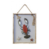 "Wood and Metal Lobster and Crab in Wooden Frames - Set of 2 - 12"" x 16"""