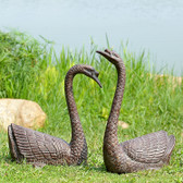 Serene Swans Garden Sculpture - Set of 2