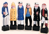 """Colorful Carved Seven Seas Characters - 12"""" Set of 6"""
