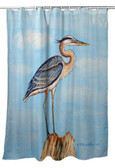 Blue Heron on Stump Shower Curtain