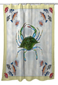 Blue Crab & Fish Shower Curtain
