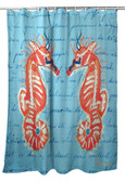 Coral Seahorse Shower Curtain