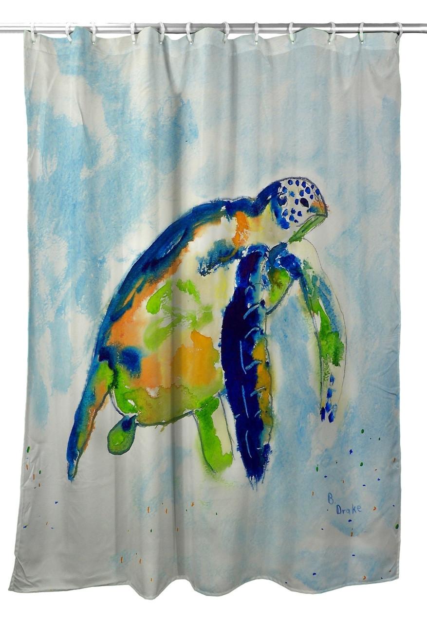 Blue Sea Turtle Shower Curtain Image 1 Loading Zoom