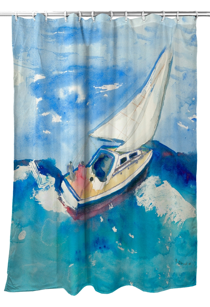 Betsys Sailboat Shower Curtain Image 1 Loading Zoom