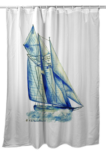 Blue Sailboat Shower Curtain