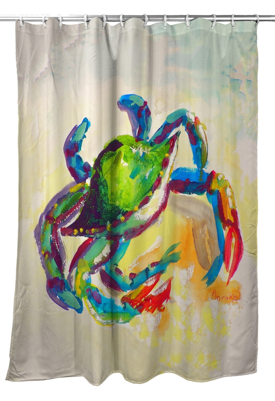 Teal Crab Shower Curtain