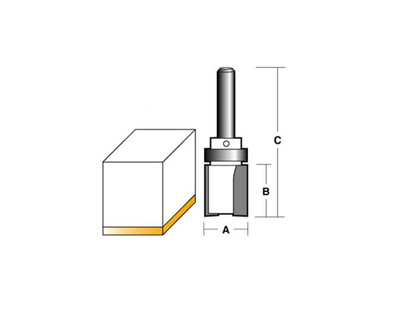 "Carb-I-Tool T8220B Inverted Flush Trim 15.9mm 1/4"" Shank"