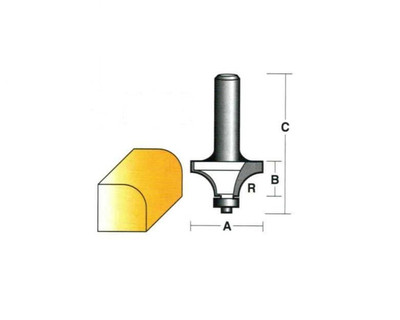 """Carb-I-Tool T524B1/2 Round Over 50.8mm 1/2"""" Shank"""