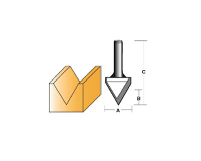 "Carb-I-Tool T6128 V Groove 60º 25.4mm 1/4"" Shank"