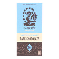 Madecasse Chocolate Bars - 63 Percent Dark Chocolate - Toasted Coconut - 2.64 oz Bars - Case of 10