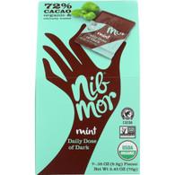 Nibmor Candy - Organic - Daily Dose of Dark - Dark Chocolate - 72 Percent Cacao - Mint - 7/.35 oz - case of 6