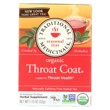 Traditional Medicinals Organic Throat Coat Herbal Tea - Caffeine Free - 16 Bags