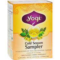 Yogi Cold Season Tea Sampler Caffeine Free - 16 Tea Bags - Case of 6