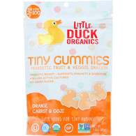 Little Duck Organics Probiotic Fruit and Veggie Snacks - Organic - Tiny Gummies - Orange Carrot and Goji - Ages 2 Years Plus - 3 oz - case of 6