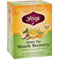Yogi Muscle Recovery Herbal Tea Green Tea - 16 Tea Bags - Case of 6