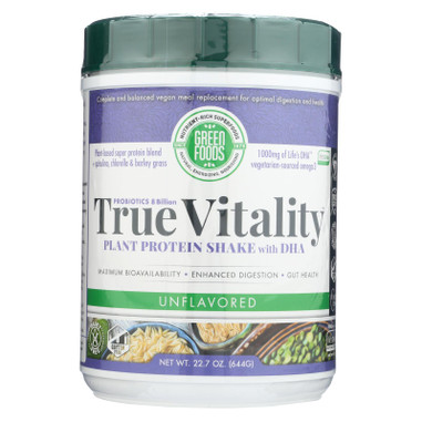 Green Foods True Vitality Plant Protein Shake with DHA Unflavored - 22.7 oz