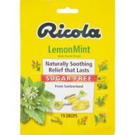Ricola Sugar Free Drops - Lemon Mint - Case of 12 - 19 Pack