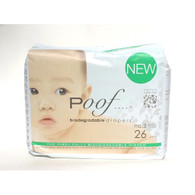 Poof Bio Disposable Diapers - Chlorine Free - Antibacterial - Size 3 - Taupe Chinoiserie - Case of 4 - 26 CT