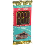 Coco Polo Chocolate Bar - 39 Percent Milk Chocolate - Case of 12 - 3 oz Bars