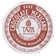 Taza Chocolate Organic Chocolate Mexicano Discs - 40 Percent Dark Chocolate - Salted Almond - 2.7 oz - Case of 12