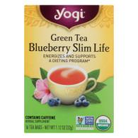 Yogi Green Slim Life Herbal Tea Blueberry - 16 Tea Bags - Case of 6
