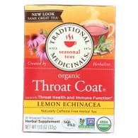 Traditional Medicinals Organic Throat Coat Lemon Echinacea Herbal Tea - Caffeine Free - 16 Bags