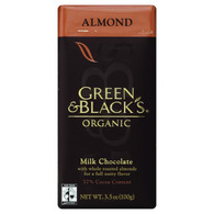 Green and Black's Organic Chocolate Bars - Milk Chocolate - 37 Percent Cacao - Almond - 3.5 oz Bars - Case of 10