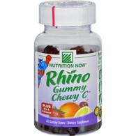 Nutrition Now Rhino Gummy Chewy C Strawberry Orange Lemon and Cherry - 60 Gummy Bears